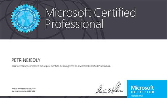 Microsoft Certified Professional: Web Applications - Petr Nejedlý