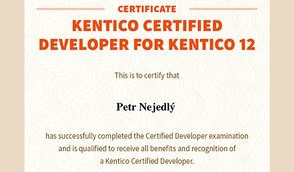 Kentico Certified Developer for Kentico 12 - Petr Nejedlý