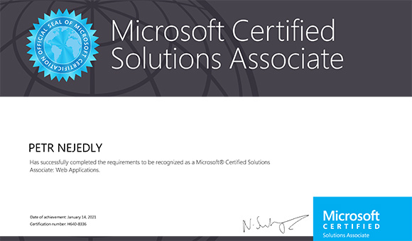 Microsoft Certified Solutions Associate: Web Applications - Petr Nejedlý