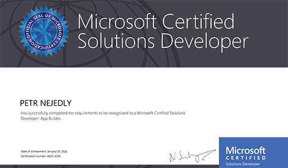 Microsoft Certified Solutions Developer: App Builder - Petr Nejedlý